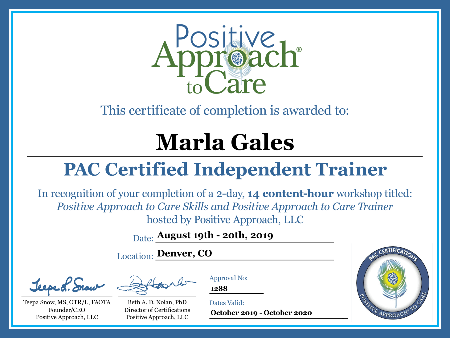PAC Certified Independant Trainer | True Blessings LLC